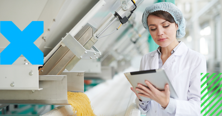 woman with tablet on a food and beverage industry